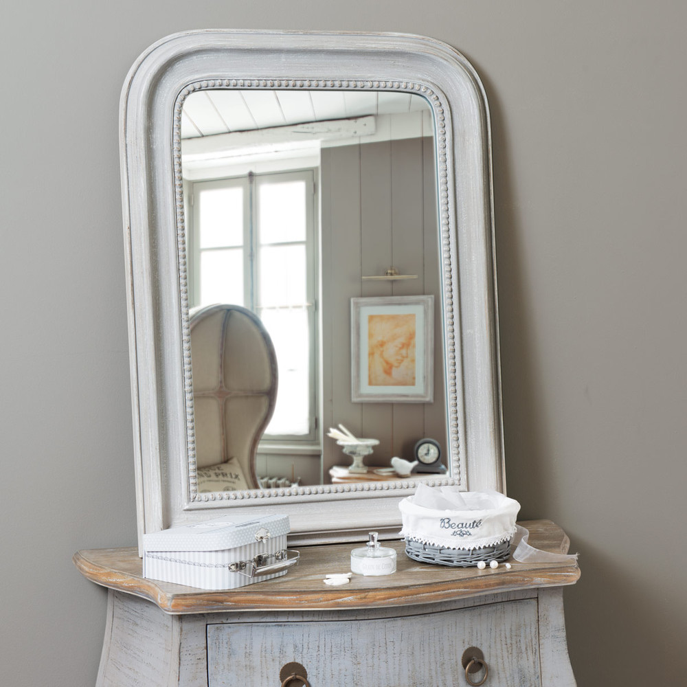 miroir en bois gris h 80 cm el gance maisons du monde. Black Bedroom Furniture Sets. Home Design Ideas
