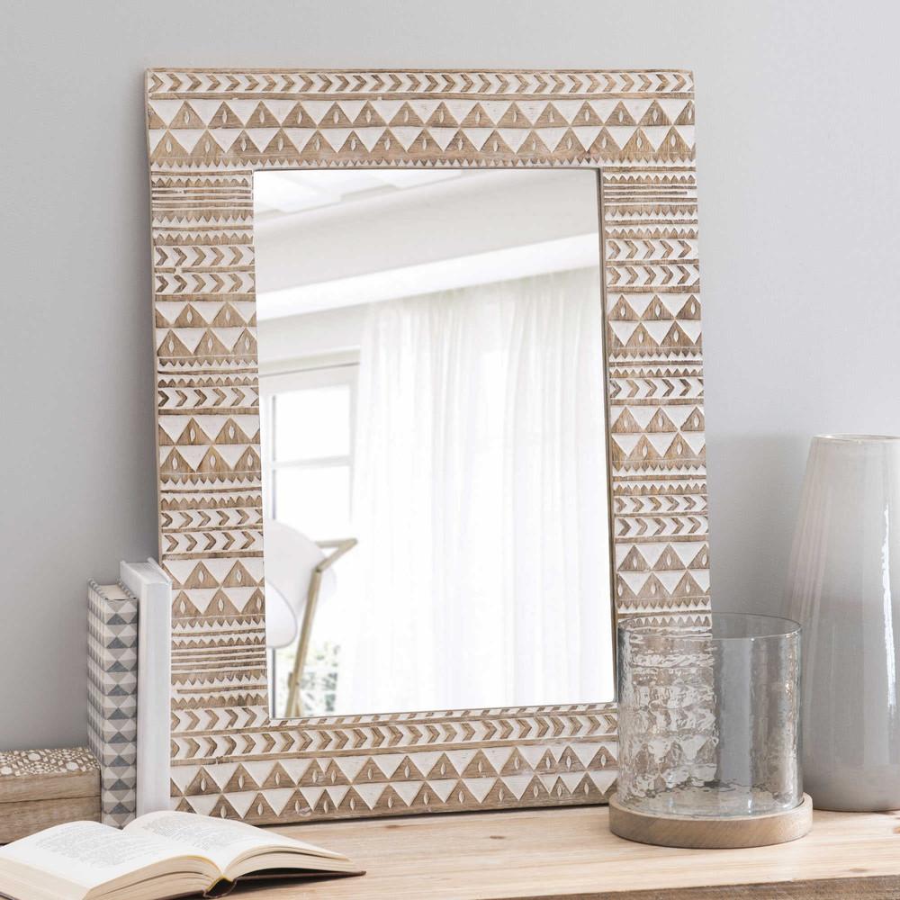 miroir en bois h 66 cm songo maisons du monde
