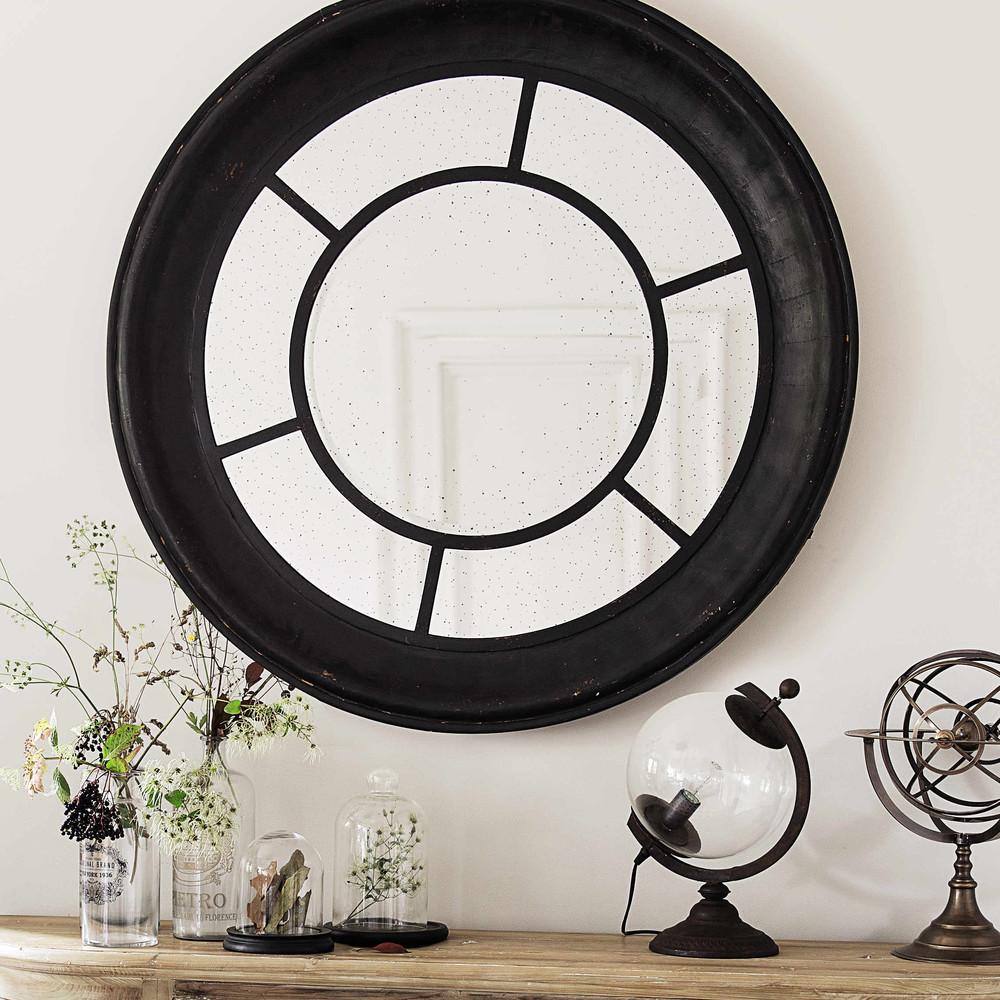 Miroir en bois noir d 119 cm lavoisier maisons du monde for Miroir bois noir