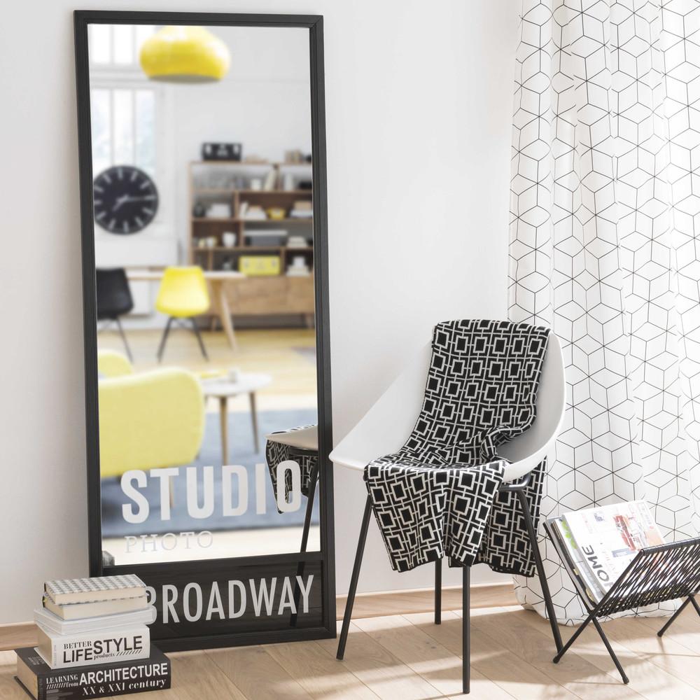 Miroir en bois noir h 150 cm studio maisons du monde for Miroirs rectangulaires bois
