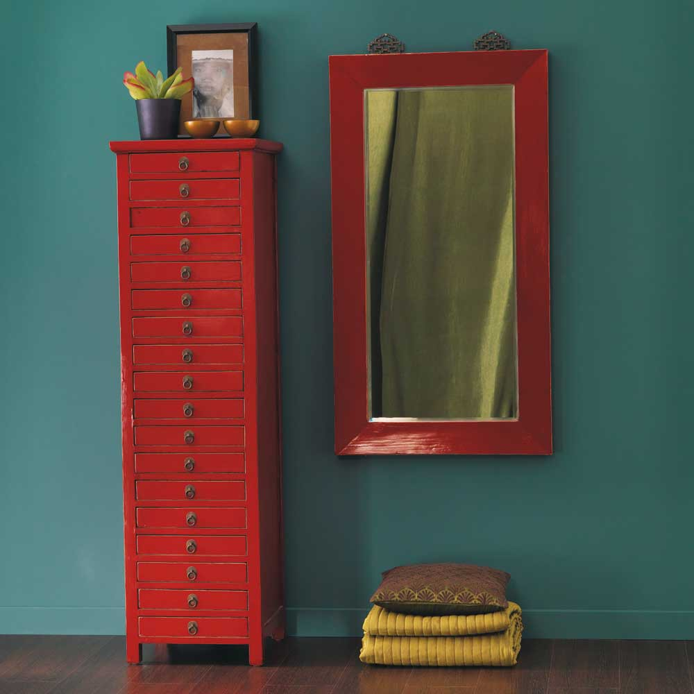 Miroir en bois rouge h 120 cm p kin maisons du monde for Miroirs rectangulaires bois