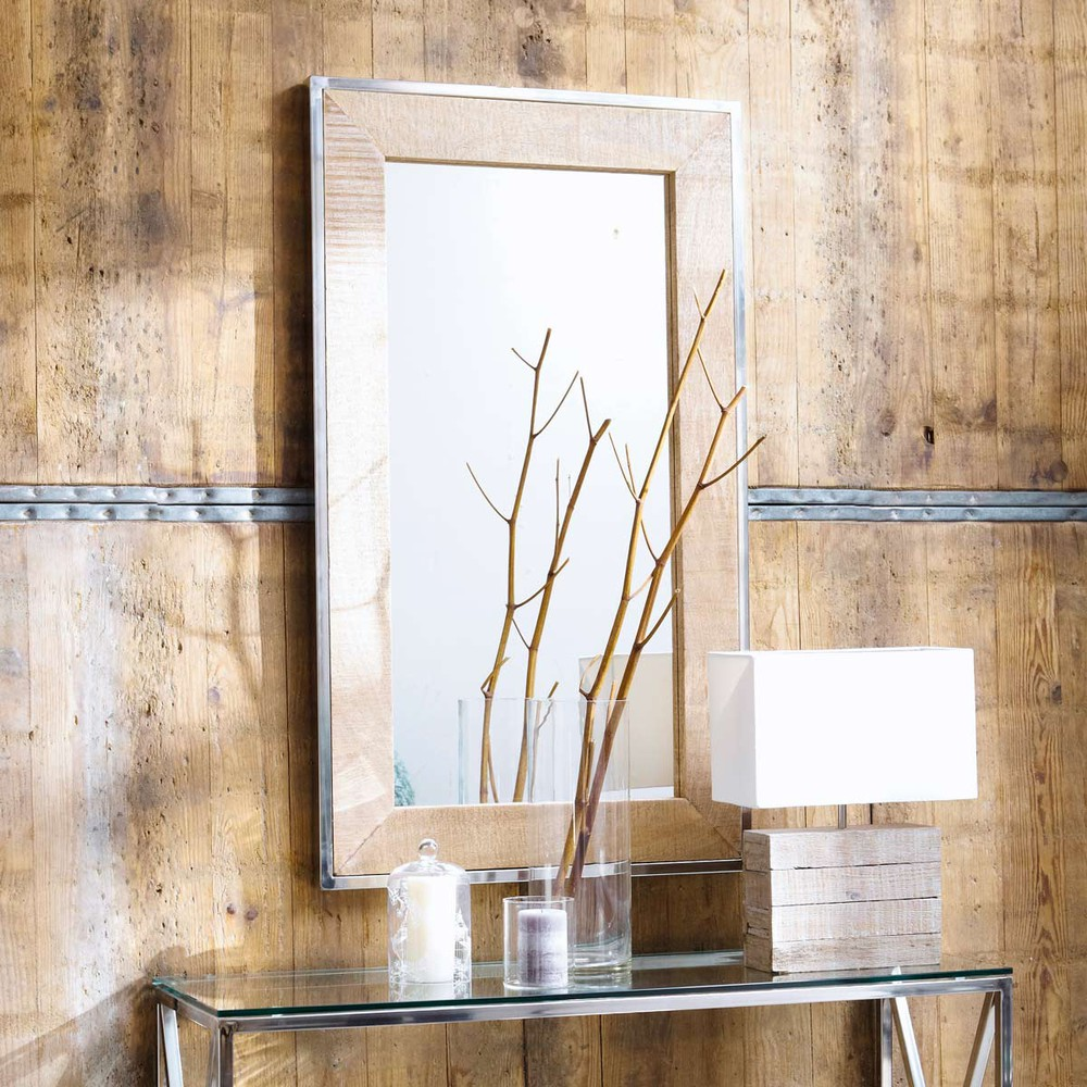 Miroir en manguier et m tal effet chrom h 120 cm helsinki for Miroir maison du monde