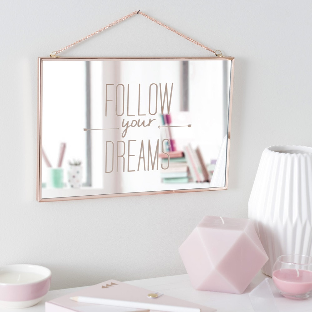 miroir en m tal cuivr 20 x 30 cm follow your dreams maisons du monde. Black Bedroom Furniture Sets. Home Design Ideas