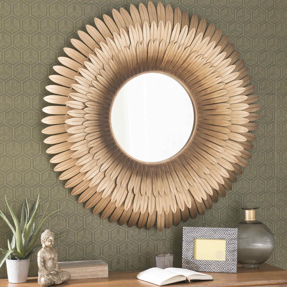 Miroir en m tal dor d 103 cm tivoli maisons du monde for Miroir rond dore