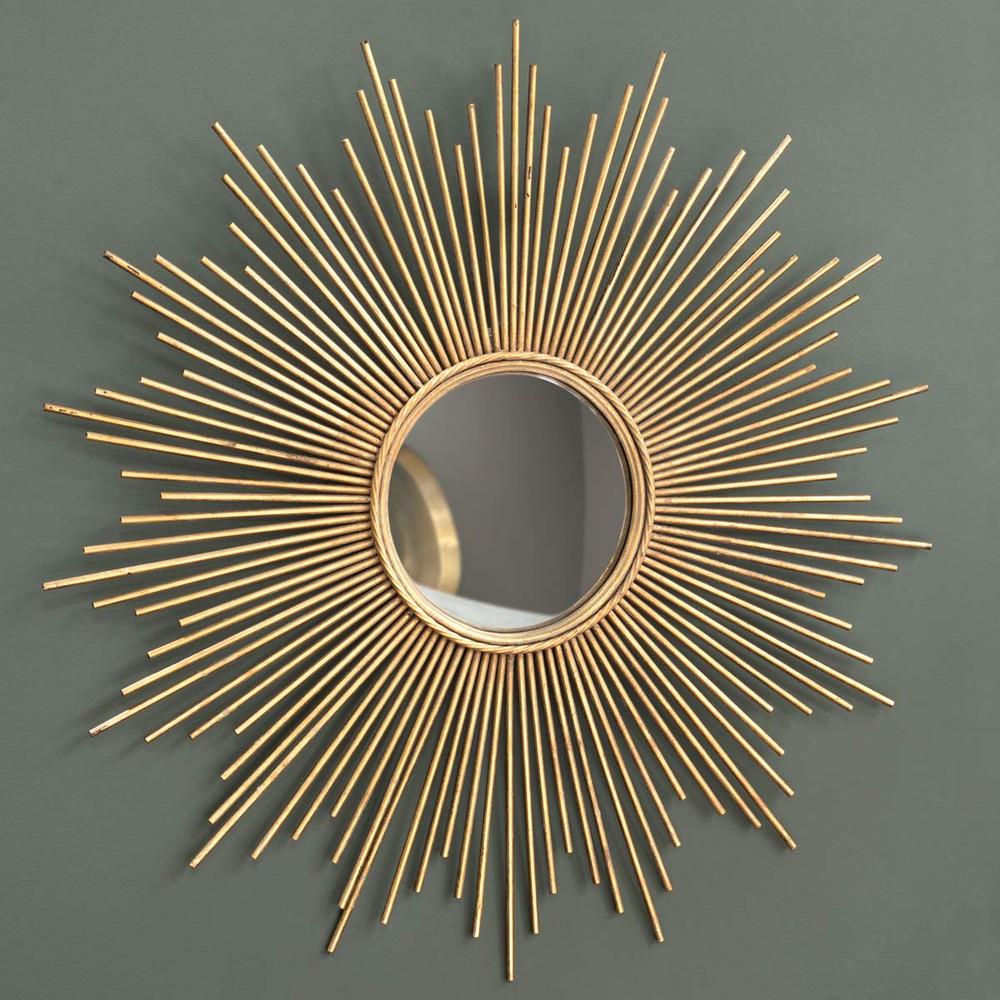 Miroir en m tal dor h 99 cm magellan maisons du monde for Miroir design soleil