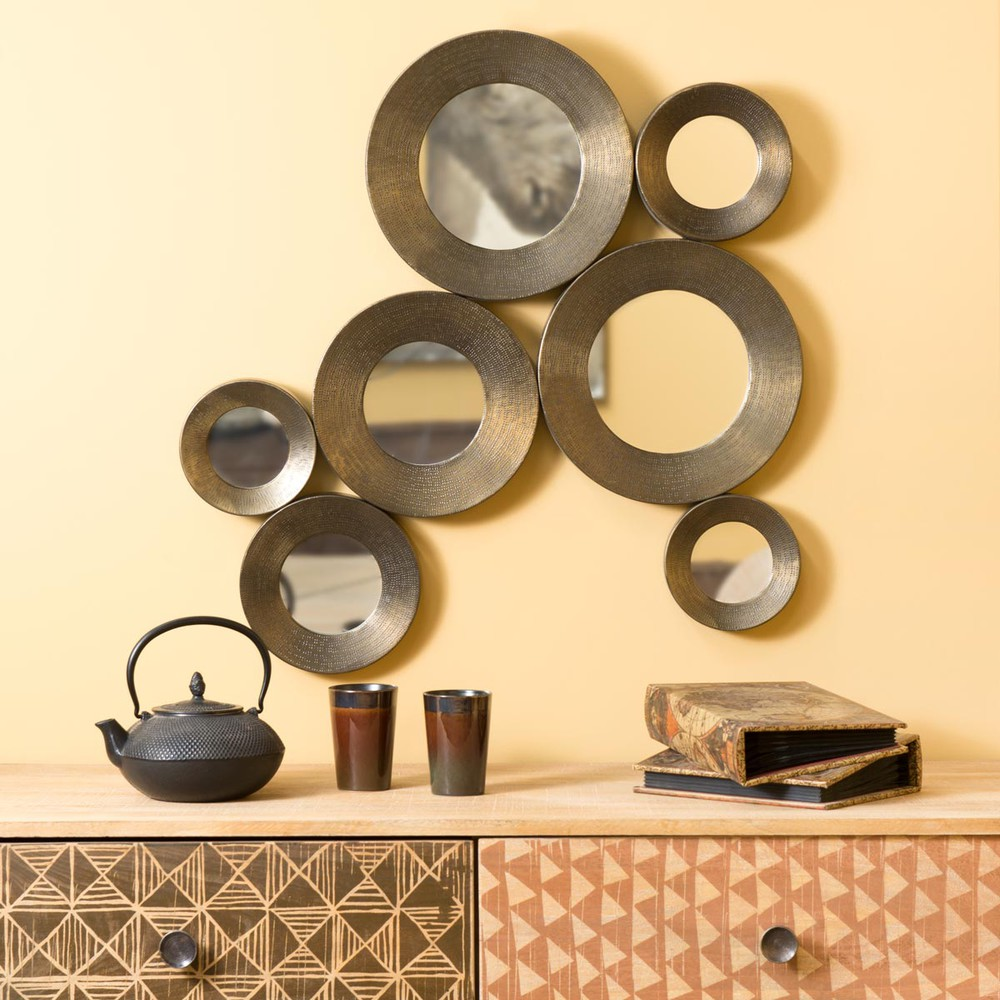 miroir en m tal effet bronze h 79 cm saadien maisons du monde. Black Bedroom Furniture Sets. Home Design Ideas