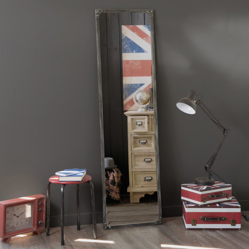 miroir en m tal effet rouille h 165 cm cargo maisons du. Black Bedroom Furniture Sets. Home Design Ideas