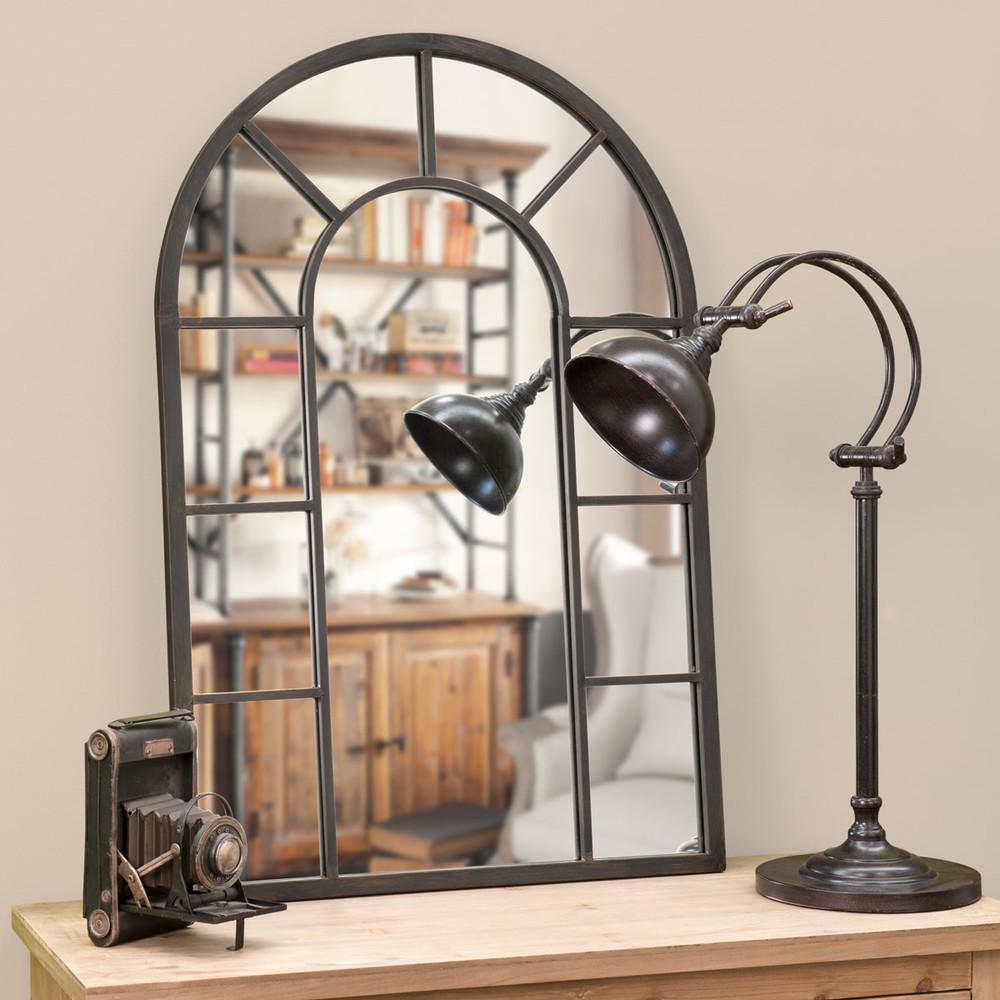 Miroir en m tal effet rouille h 90 cm cheverny maisons - Miroir metal noir ...