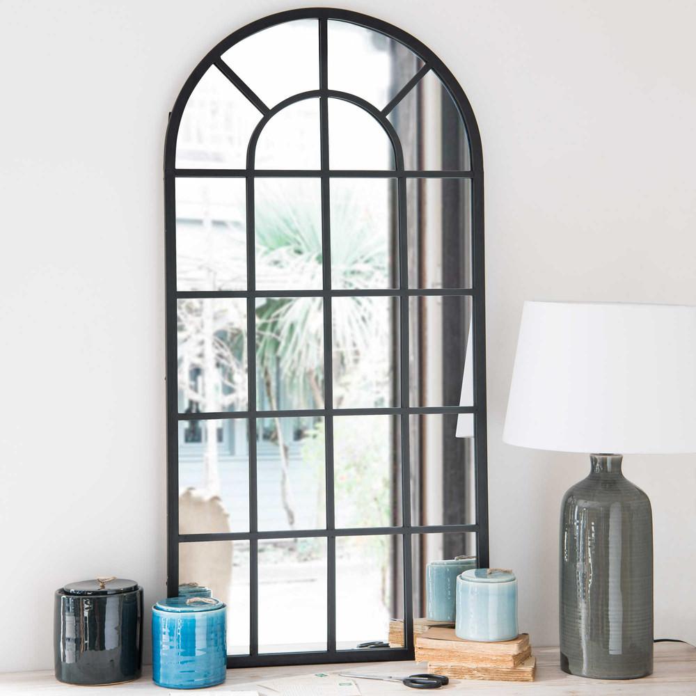 Miroir en m tal noir 61x122cm volda maisons du monde for Miroir industriel maison du monde