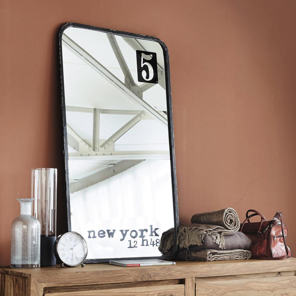 Miroir en m tal noir h 120 cm 5th avenue maisons du monde for Miroir en metal noir
