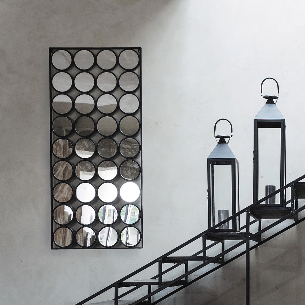 Miroir en m tal noir h 156 cm geometric maisons du monde - Miroir metal noir ...