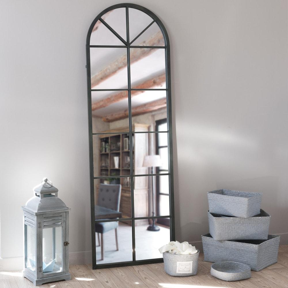 Miroir en m tal noir h 180 cm achille maisons du monde Miroir baroque maison du monde