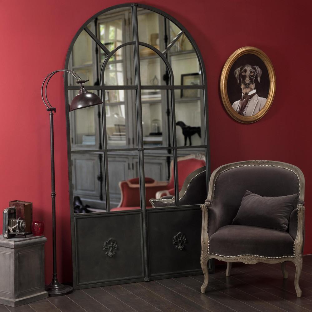 Grands miroirs rectangulaires miroir en m tal noir h 211 for Grands miroirs rectangulaires