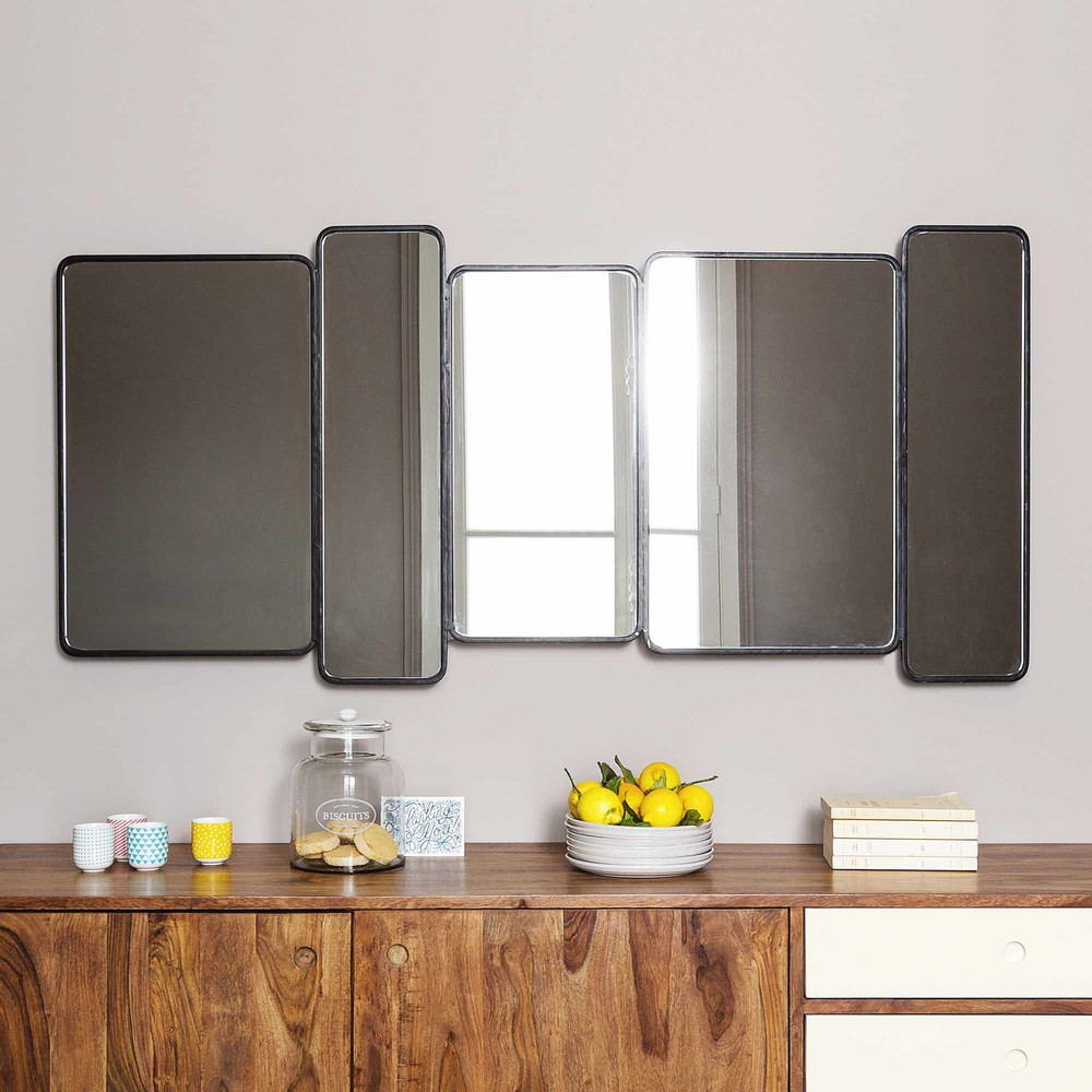 miroir en m tal noir h 71 cm telford maisons du monde. Black Bedroom Furniture Sets. Home Design Ideas