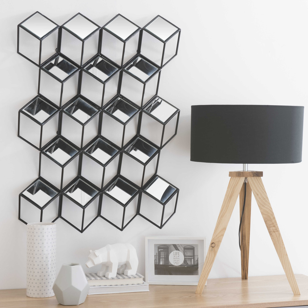 miroir en m tal noir h 80 cm d dale maisons du monde. Black Bedroom Furniture Sets. Home Design Ideas