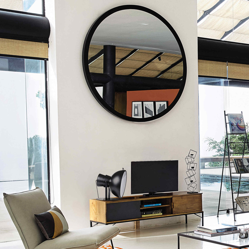 miroir en m tal noir stratford maisons du monde. Black Bedroom Furniture Sets. Home Design Ideas