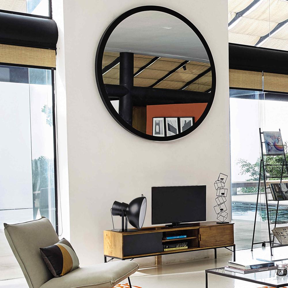 Miroir en m tal noir stratford maisons du monde for Miroirs maison du monde