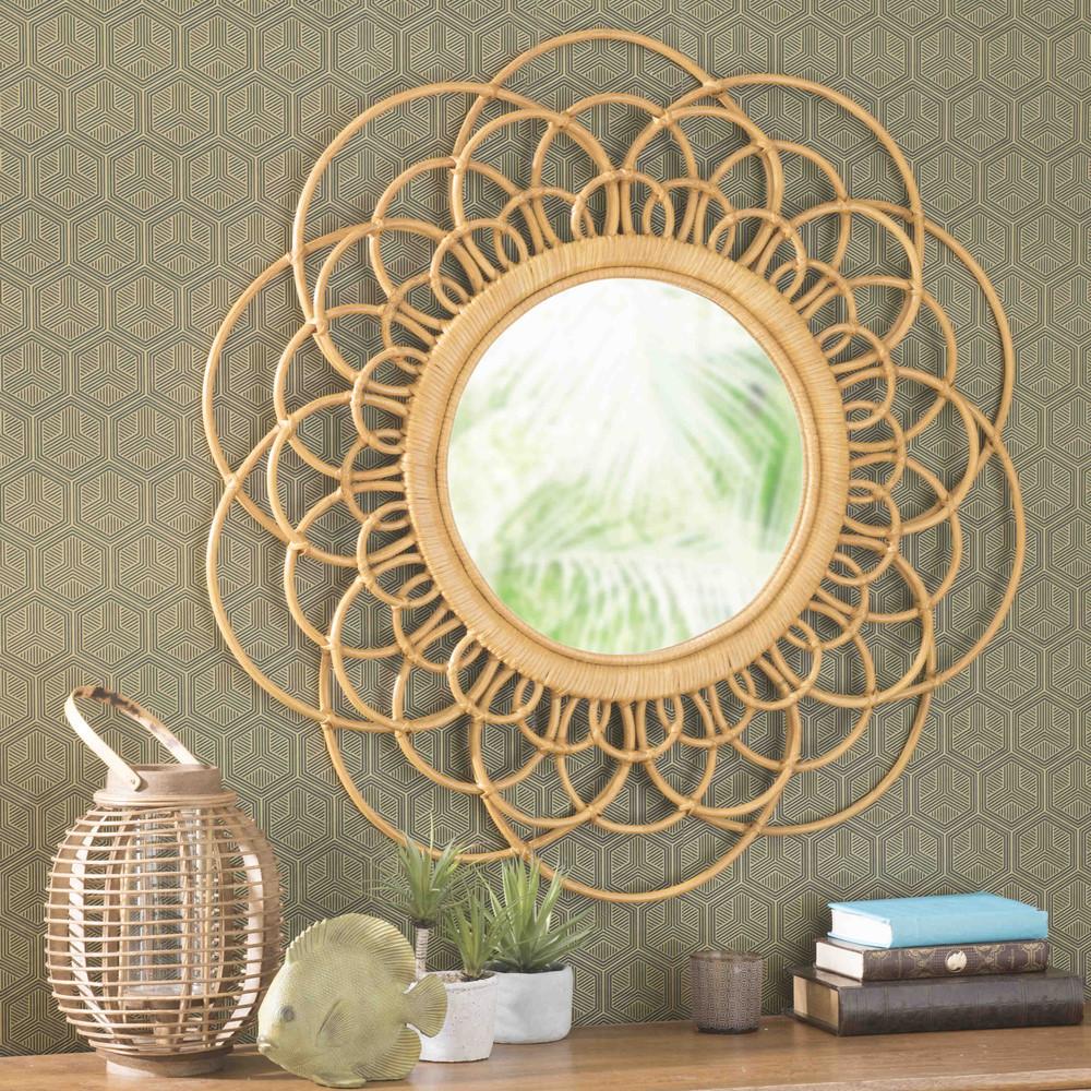 miroir en osier jaune d 90 cm valparaiso maisons du monde. Black Bedroom Furniture Sets. Home Design Ideas