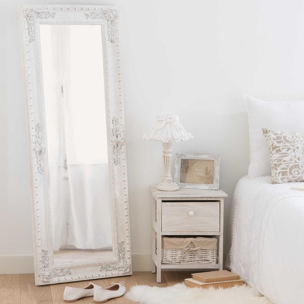miroir en paulownia blanc 50x130cm monteverdi maisons du monde. Black Bedroom Furniture Sets. Home Design Ideas