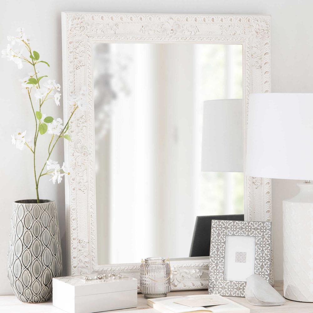 Miroir en paulownia blanc 67x87cm monteverdi maisons du for Miroir blanc maison du monde