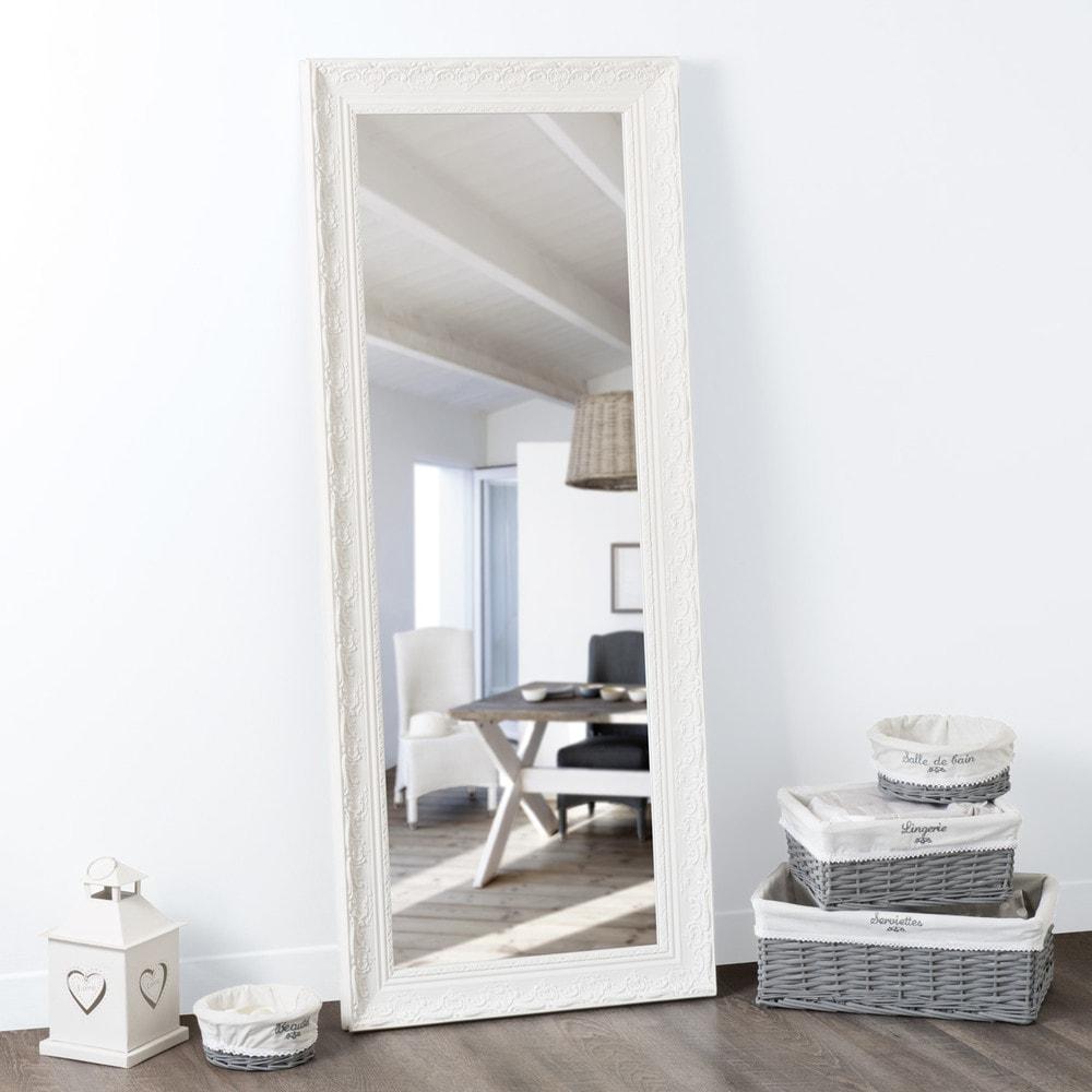 Miroir en paulownia blanc h 145 cm valentine maisons du for Miroir blanc rectangulaire