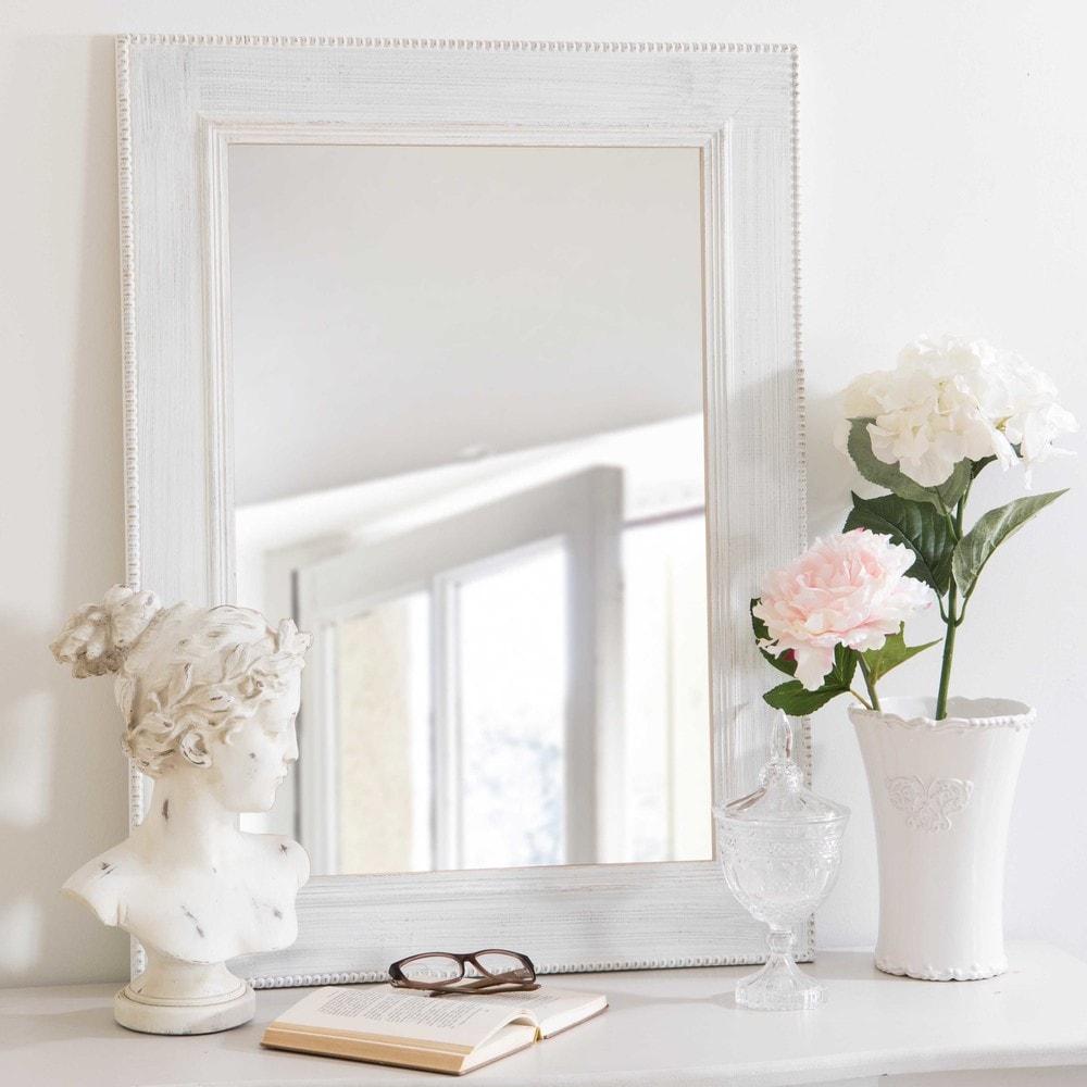 Miroir en paulownia blanc patin 60x80cm coline maisons for Miroir blanc maison du monde