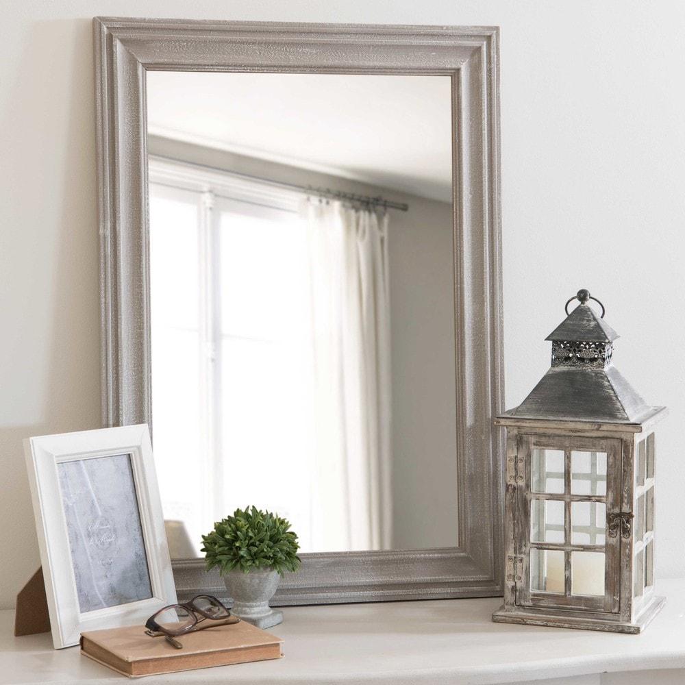 Miroir en paulownia gris vieilli 50x70cm lyna maisons du for Miroir design maison du monde