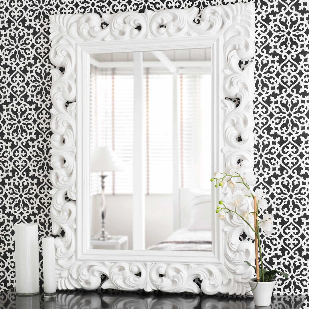 miroir en polyr sine blanc h 120 cm rivoli maisons du monde. Black Bedroom Furniture Sets. Home Design Ideas