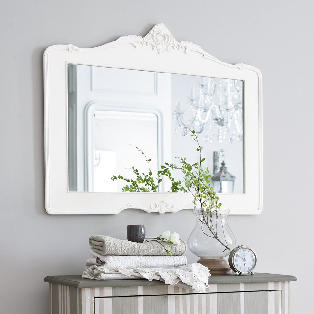 Miroir en r sine blanc h 80 cm romantica maisons du monde for Miroir blanc maison du monde