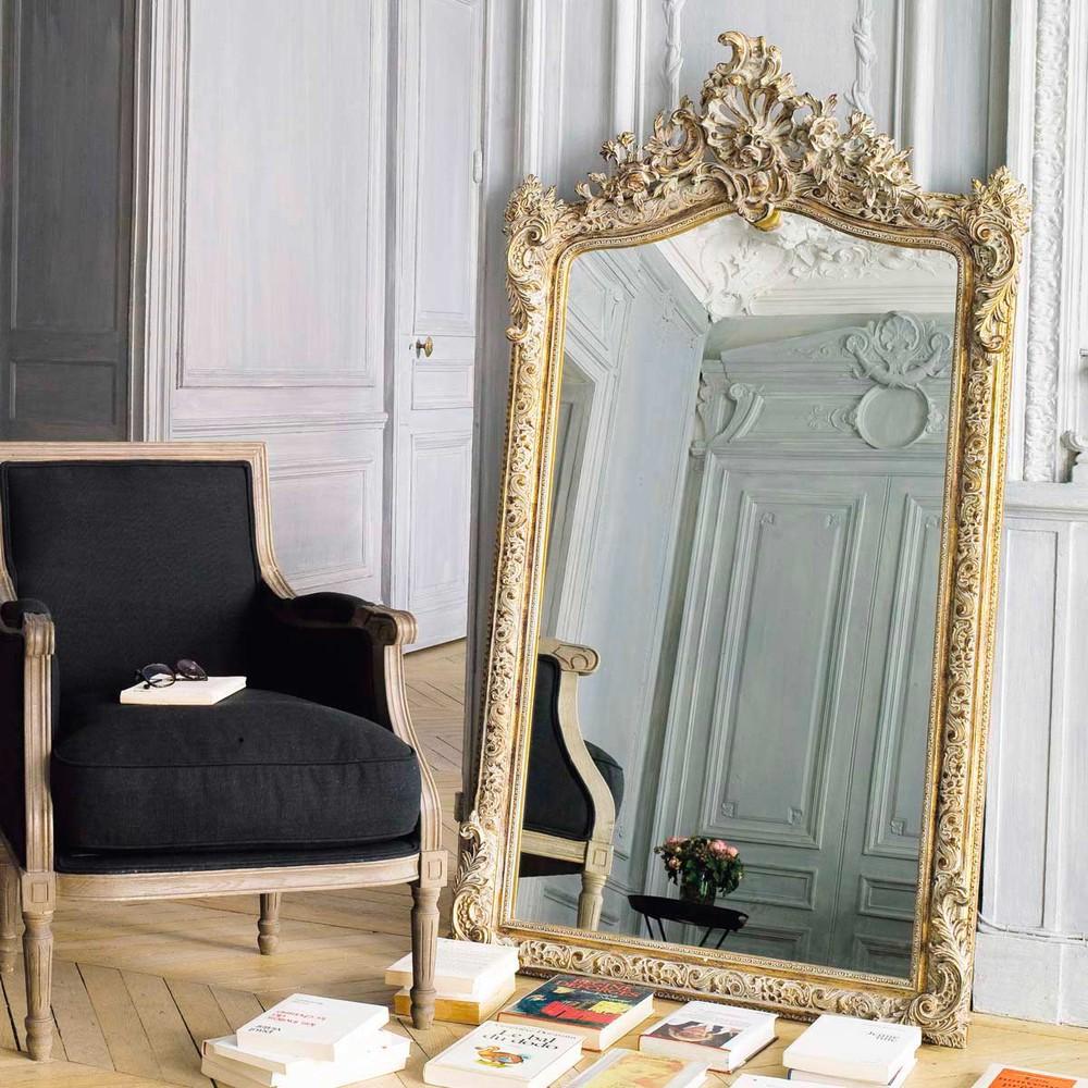 Miroir en r sine dor e h 153 cm conservatoire maisons du for Miroir bordure doree