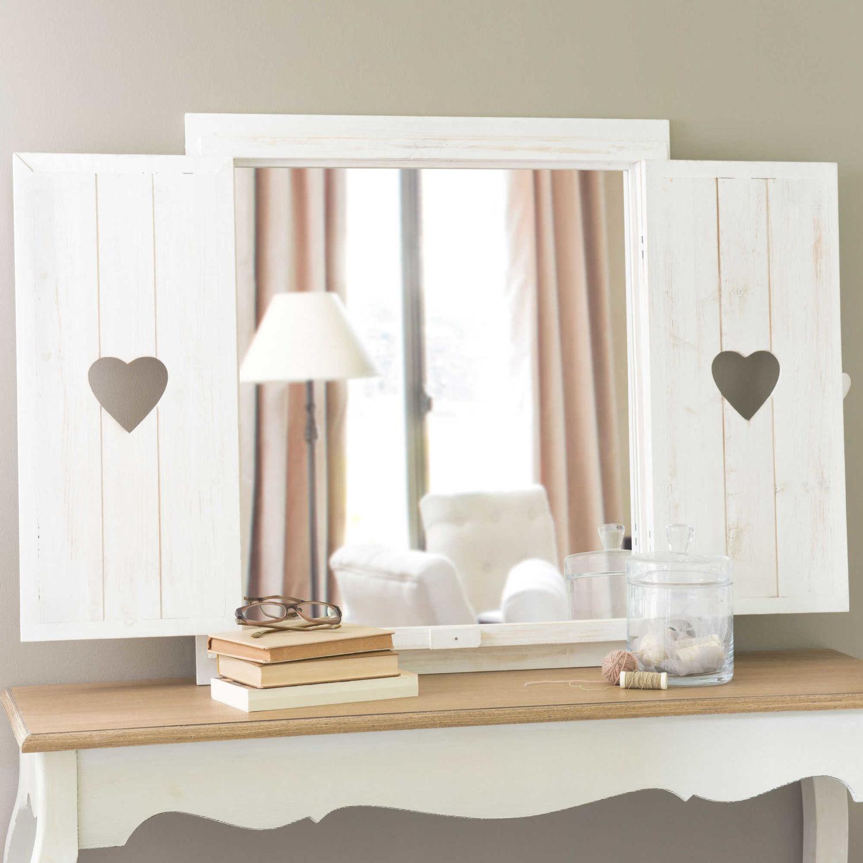 miroir fenêtre avec cœurs en bois blanchi h 71 cm lucy | maisons du