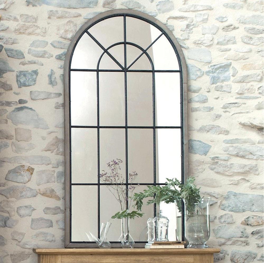 miroir fen tre demi lune h 146 cm sainte maxime maisons du monde. Black Bedroom Furniture Sets. Home Design Ideas