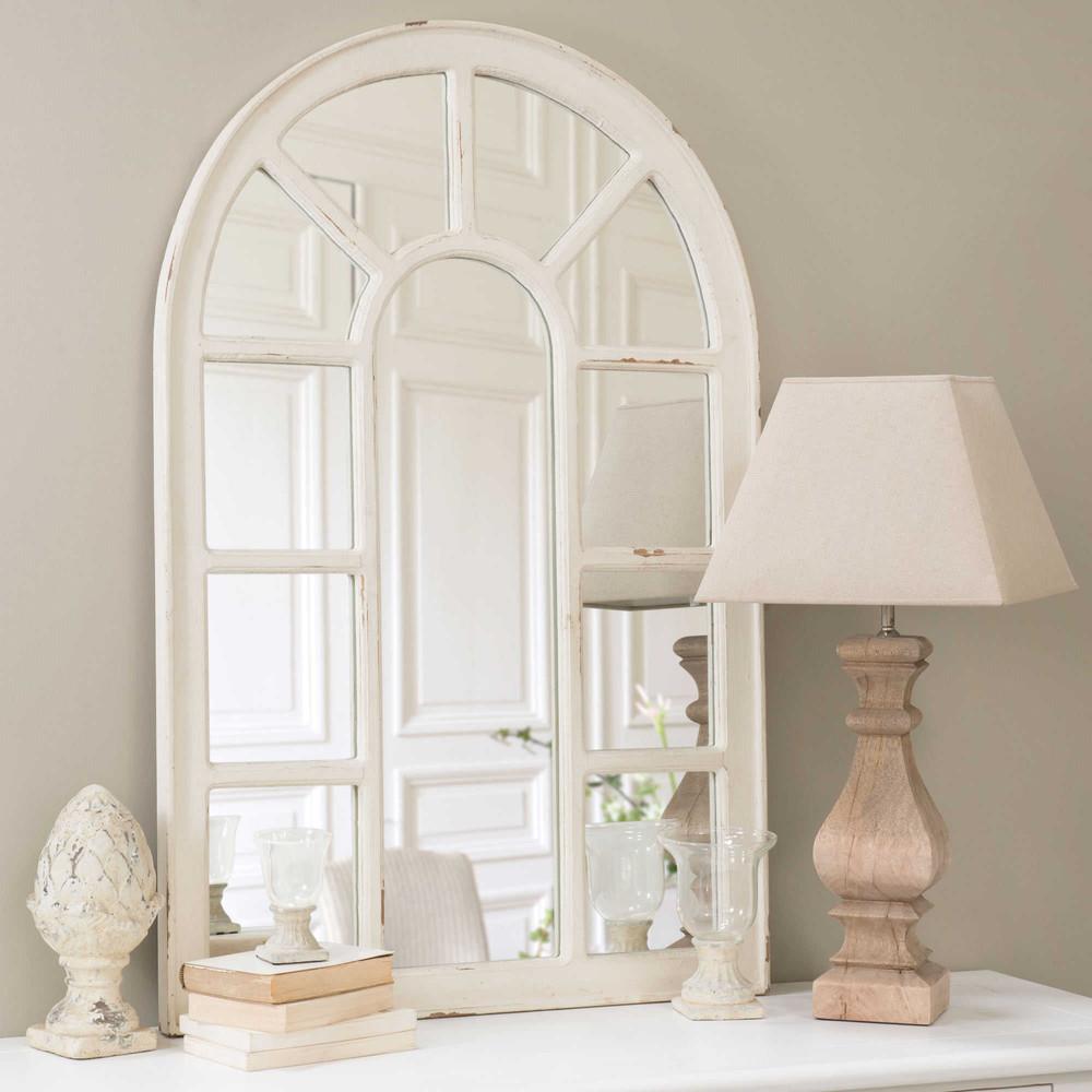 Miroir fen tre en bois blanc h 122 cm ofelia maisons du for Fenetre en bois