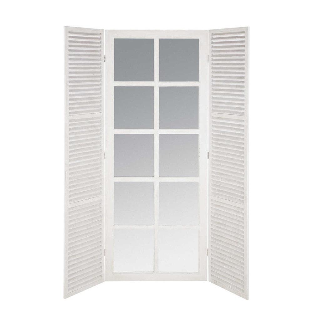 Miroir fen tre en bois blanc h 200 cm riviera maisons du for Miroir blanc bois