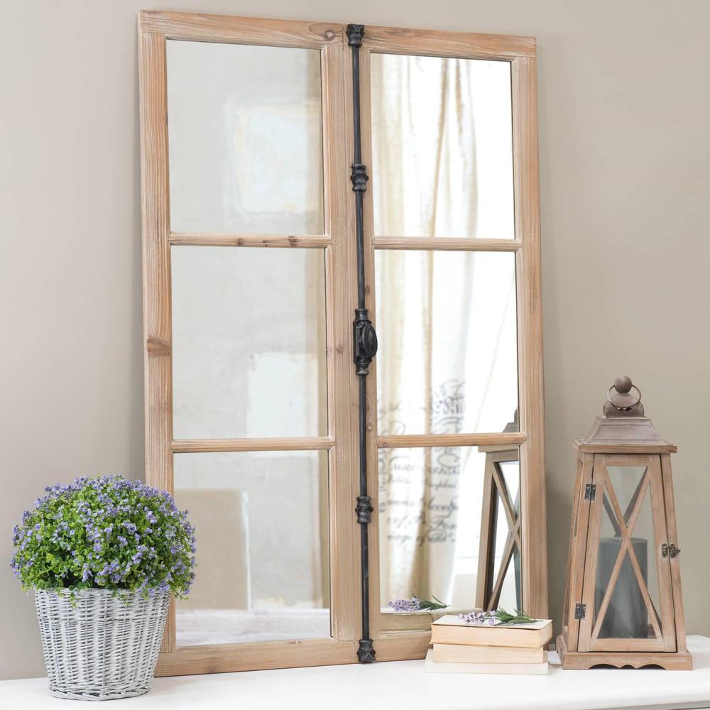 Miroir fen tre en bois et m tal noir h 120 cm vaucluse for Miroir maison