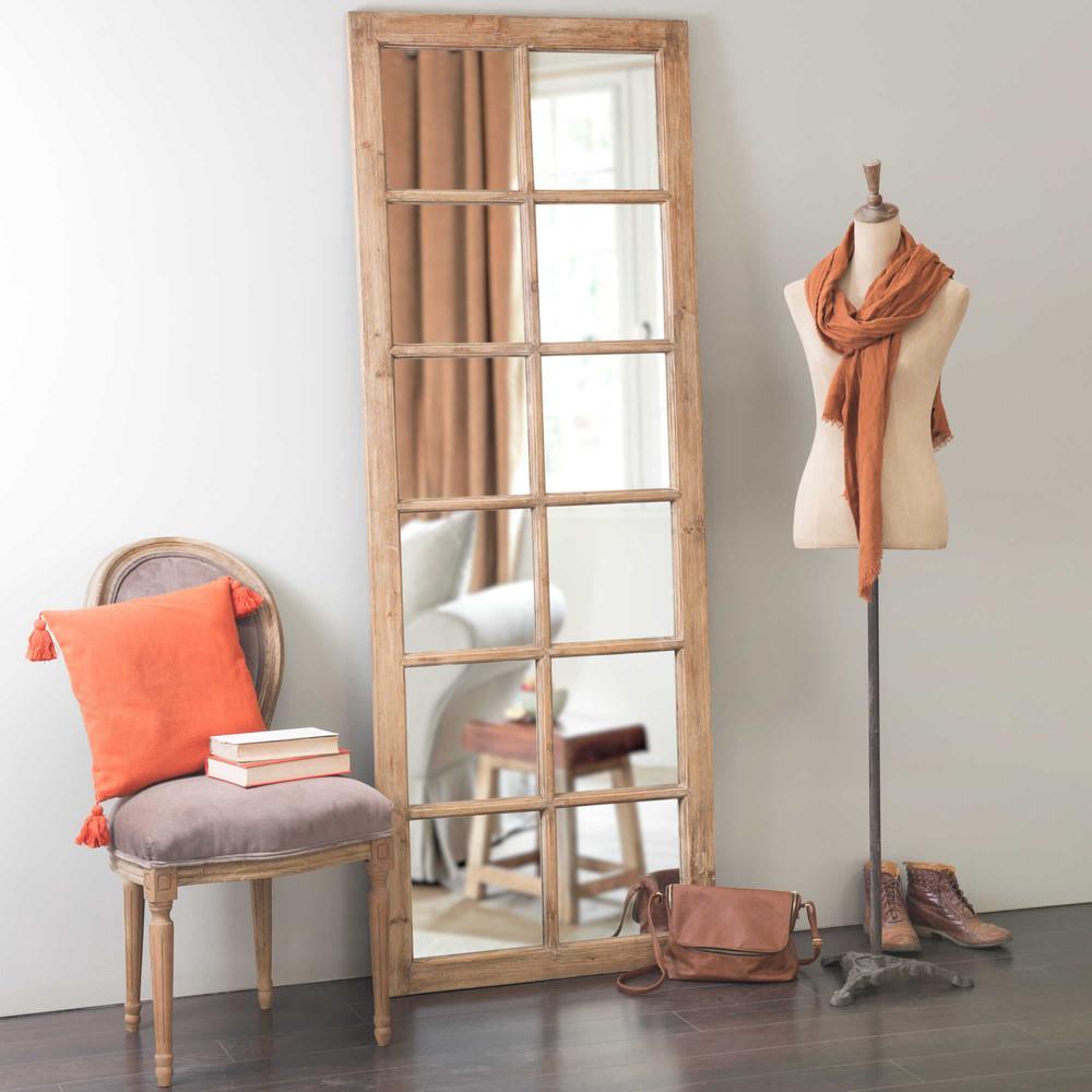 Miroir fen tre en bois h 198 cm chauvigny maisons du monde for Fenetre miroir decoration