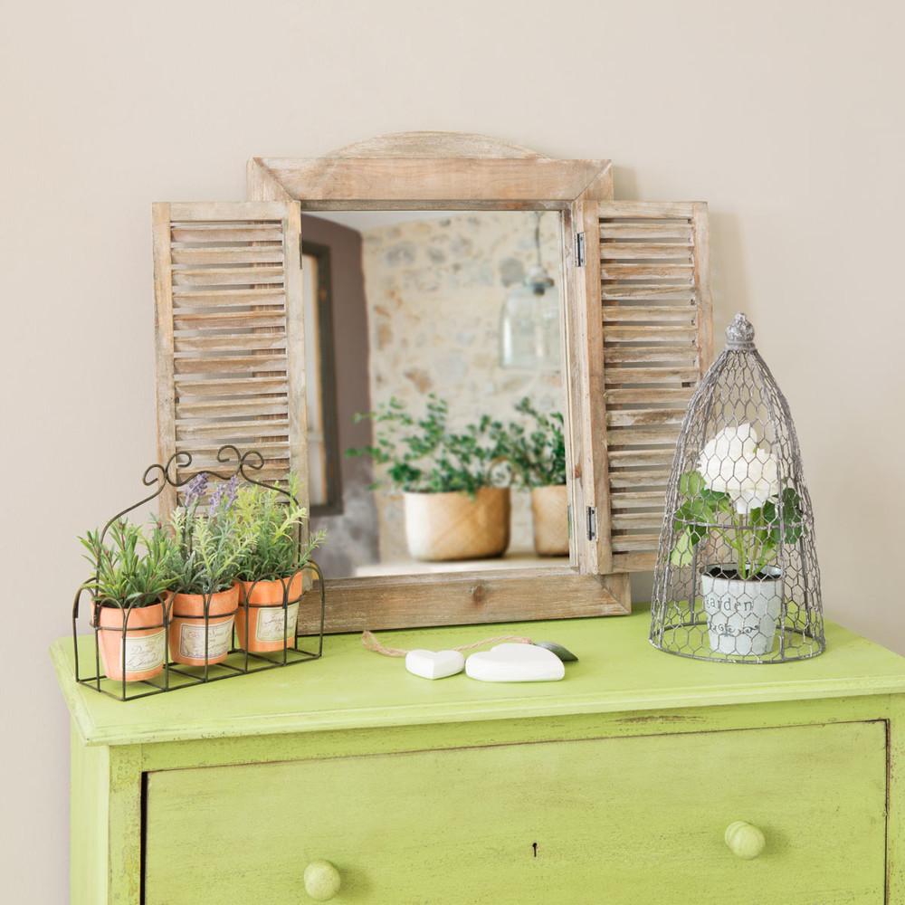 Miroir fen tre style champetre h 52 cm maisons du monde for Miroir style
