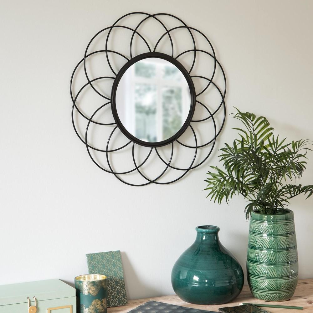 Miroir filaire rond en m tal noir d50 maisons du monde for Miroir rond design