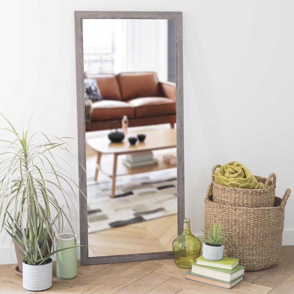 Miroir gris h 130 cm trendy maisons du monde for Miroir bois gris