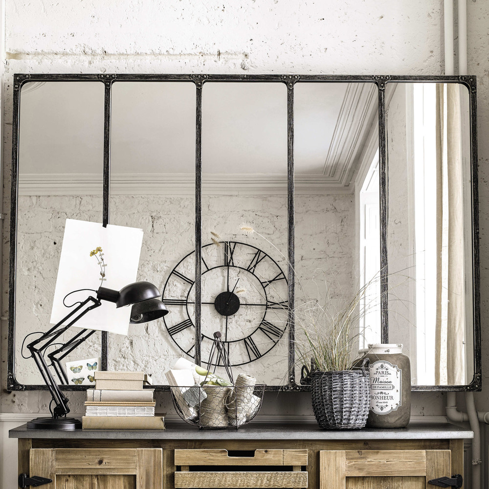 Miroir indus en m tal l 180 cm cargo verri re maisons du - Miroir blanc pas cher ...