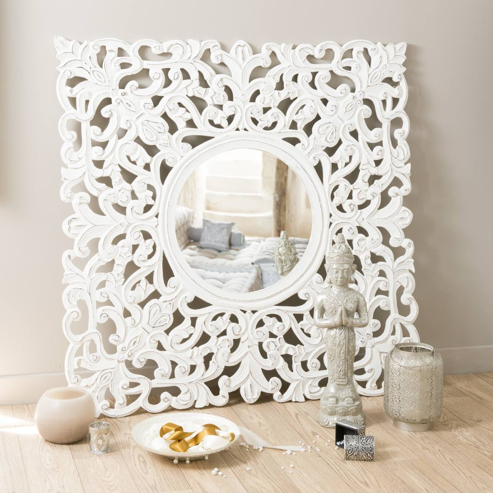 Miroir maharani blanc maisons du monde for Miroir blanc maison du monde