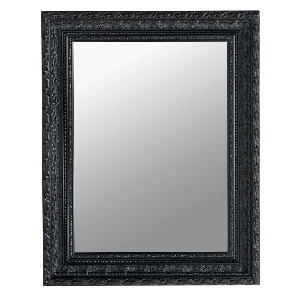 Miroir marquise noir 76x96 maisons du monde for Miroir baroque noir rectangulaire