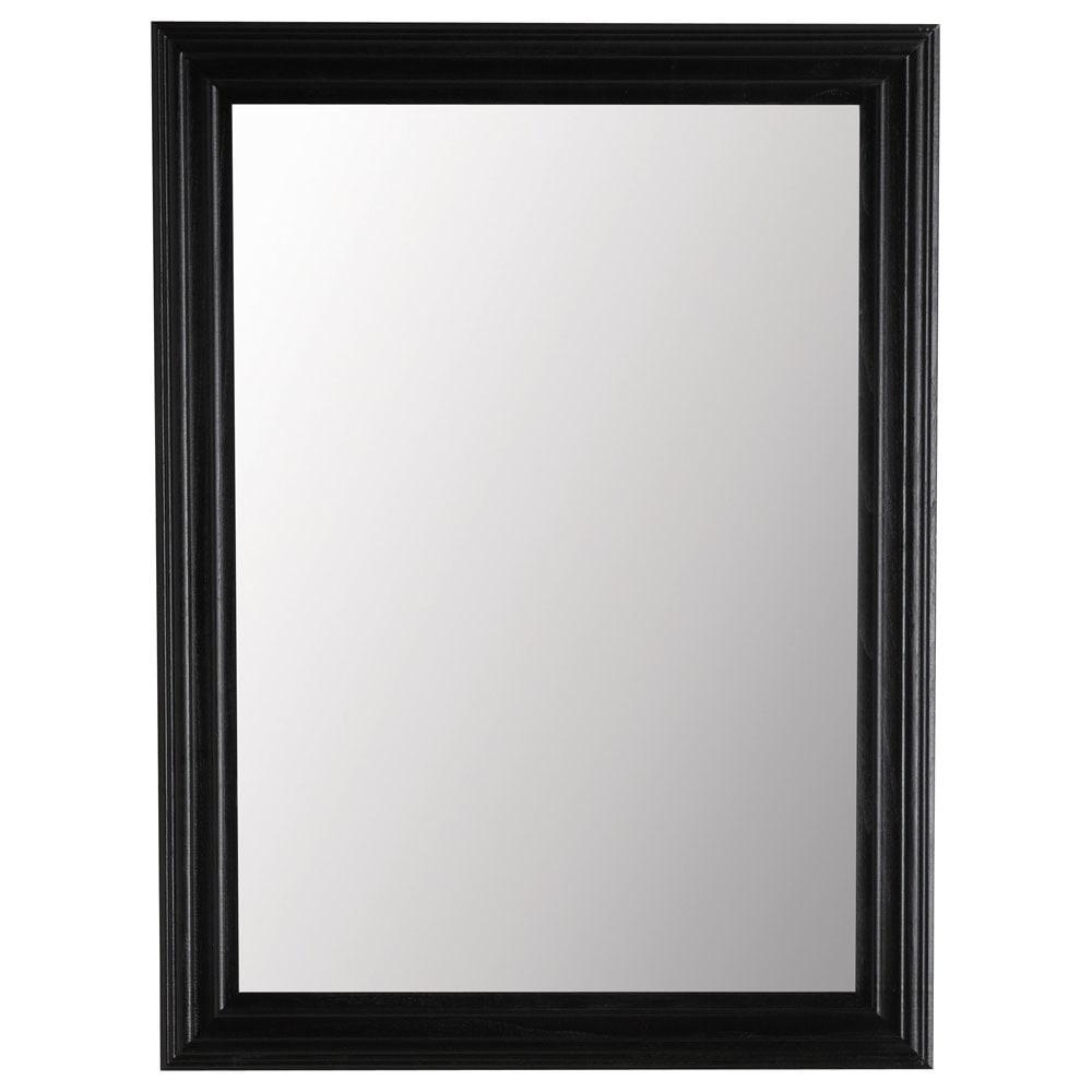 Miroir napoli noir 120x90 maisons du monde for Miroir noir rectangulaire