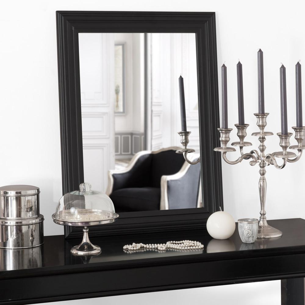 Miroir napoli noir 80x60 maisons du monde for Miroir bord noir
