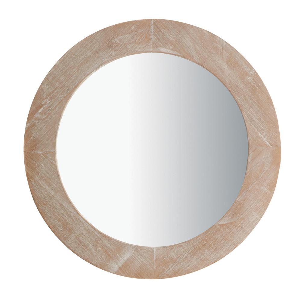 Miroir natura c rus rond maisons du monde for Miroir rond bois