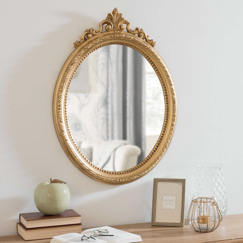 miroir oval dor 46x62cm anastacia maisons du monde. Black Bedroom Furniture Sets. Home Design Ideas
