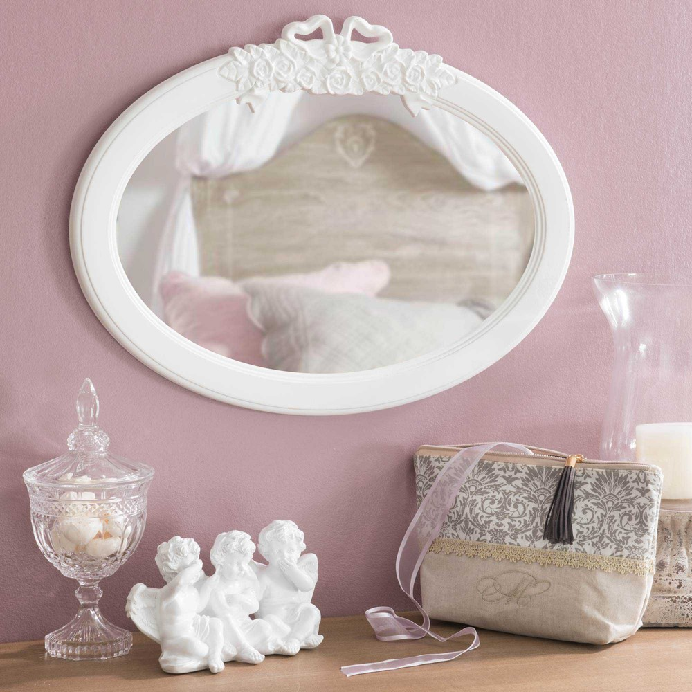 miroir ovale en bois blanc h 38 cm pristine maisons du monde. Black Bedroom Furniture Sets. Home Design Ideas