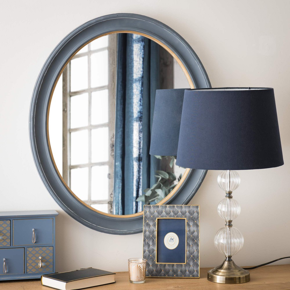 miroir ovale en bois bleu h 60 cm westerly maisons du monde. Black Bedroom Furniture Sets. Home Design Ideas