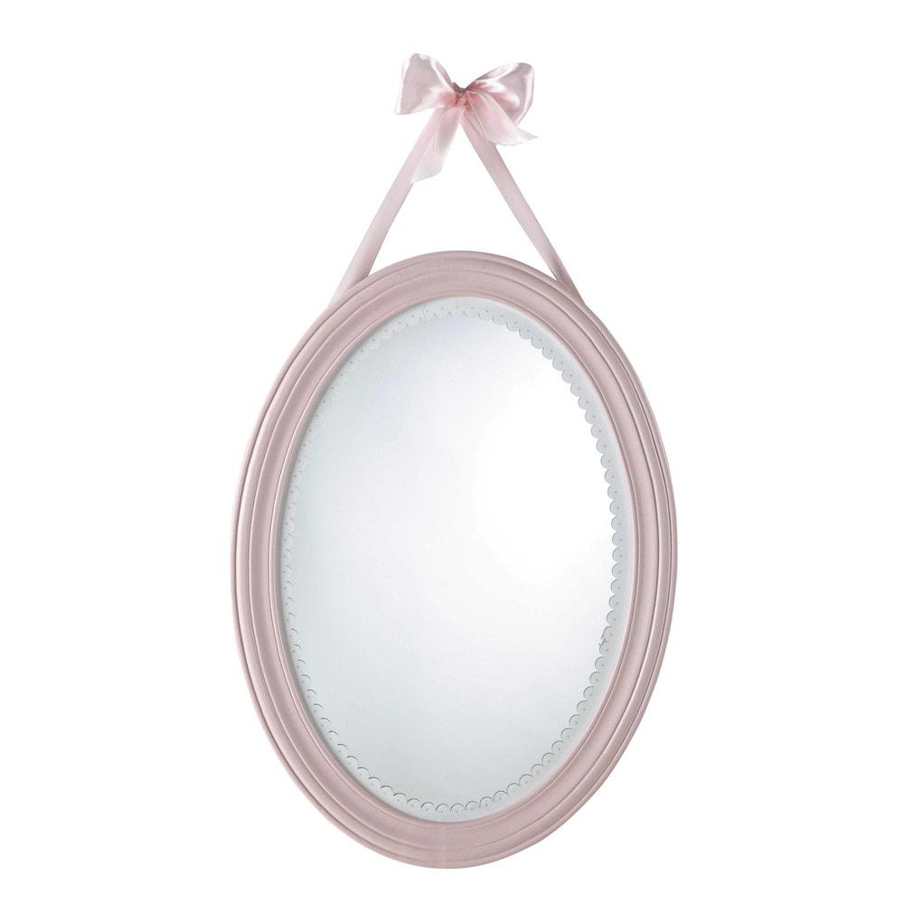 Miroir ovale en bois rose h 55 cm victorine maisons du monde for Miroir industriel maison du monde