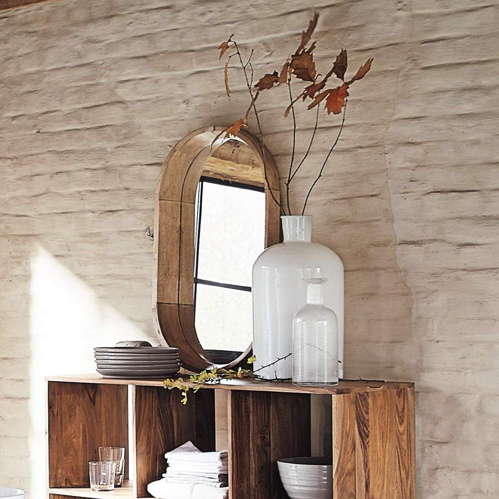Miroir ovale en manguier h 44 cm antigone maisons du monde for Maison du monde 44